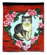 Cat In Heart Wreath 1 Fleece Blanket