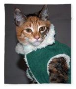 Cat In Patrick's Coat Fleece Blanket