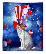 Cat In Patriotic Hat Fleece Blanket