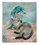 Cat In Summer Beach Hat Fleece Blanket