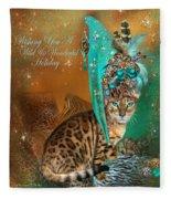 Cat In The Leopard Trim Santa Hat Fleece Blanket