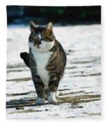 Cat In The Snow Fleece Blanket