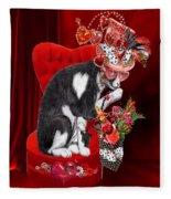 Cat In The Valentine Steam Punk Hat Fleece Blanket