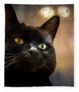 Cat In The Window Fleece Blanket