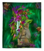 Cat In Tropical Dreams Hat Fleece Blanket