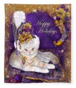 Cat In Victorian Santa Hat Fleece Blanket