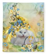 Cat In Yellow Easter Hat Fleece Blanket