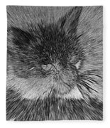 Cat - India Ink Effect Fleece Blanket