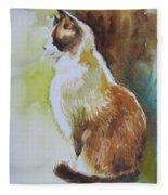 White And Brown Cat Fleece Blanket