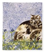 Cat Mint Wc On Paper Fleece Blanket