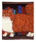 Cat On Book Shelf Fleece Blanket
