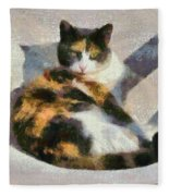 Cat On Chair Fleece Blanket