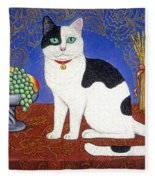 Cat On Thanksgiving Table Fleece Blanket