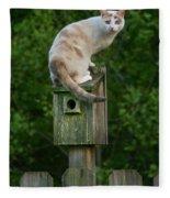 Cat Perched On A Bird House Fleece Blanket