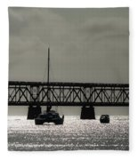 Catamaran Anchored At Old Bahia Honda Bridge Fleece Blanket