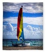 Catamaran At The Beach Fleece Blanket