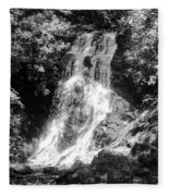 Cataract Falls Smoky Mountains Bw Fleece Blanket