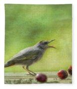 Catbird Eating Cherries Fleece Blanket