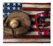 Catchers Glove On American Flag Fleece Blanket