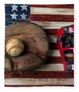 Catchers Glove On American Flag Fleece Blanket