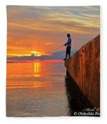 Catching A Navarre Sunset Fleece Blanket