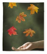 Catching Leaves Fleece Blanket