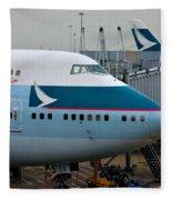 Cathay Pacific 747 Jumbo Jet Parked At Hong Kong Airport Fleece Blanket