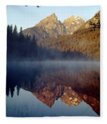 4m9304-cathedral Group Reflection, Tetons, Wy Fleece Blanket