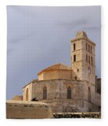 Cathedral In Ibiza Town Fleece Blanket