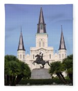 Cathedral In Jackson Square Fleece Blanket