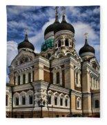Cathedral In Tallinn Fleece Blanket