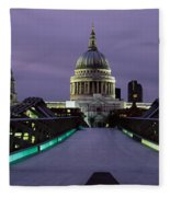 Cathedral Lit Up At Night, St. Pauls Fleece Blanket
