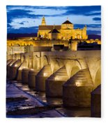 Cathedral Mosque And Roman Bridge In Cordoba Fleece Blanket