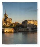 Cathedral Notre Dame - Sunrise Fleece Blanket