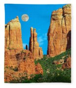 Cathedral Rock Moon Fleece Blanket