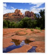 Cathedral Rock Reflections Fleece Blanket