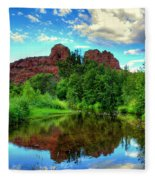 Cathedral Rocks At Red Rock Crossing Fleece Blanket