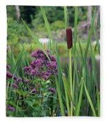Cattail Pond II Fleece Blanket