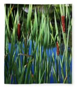 Cattail Pond In Pastel Fleece Blanket