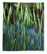 Cattail Pond In Watercolor Fleece Blanket
