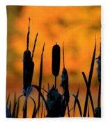 Cattail Silhouette Fleece Blanket