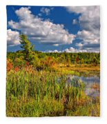 Cattails And Clouds Fleece Blanket