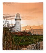 Cattails And Lighthouse In Indiana Fleece Blanket