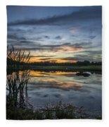 Cattails And Sunset Fleece Blanket