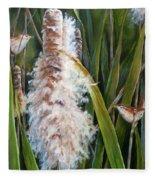 Cattails And Wrens Fleece Blanket