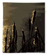 Cattails At Sunset Fleece Blanket