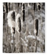 Cattails In Winter Fleece Blanket