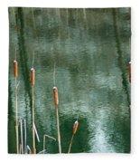 Cattails On Green Fleece Blanket