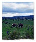 Cattle At Pasture Fleece Blanket