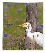 Cattle Egret At Fenceline Fleece Blanket